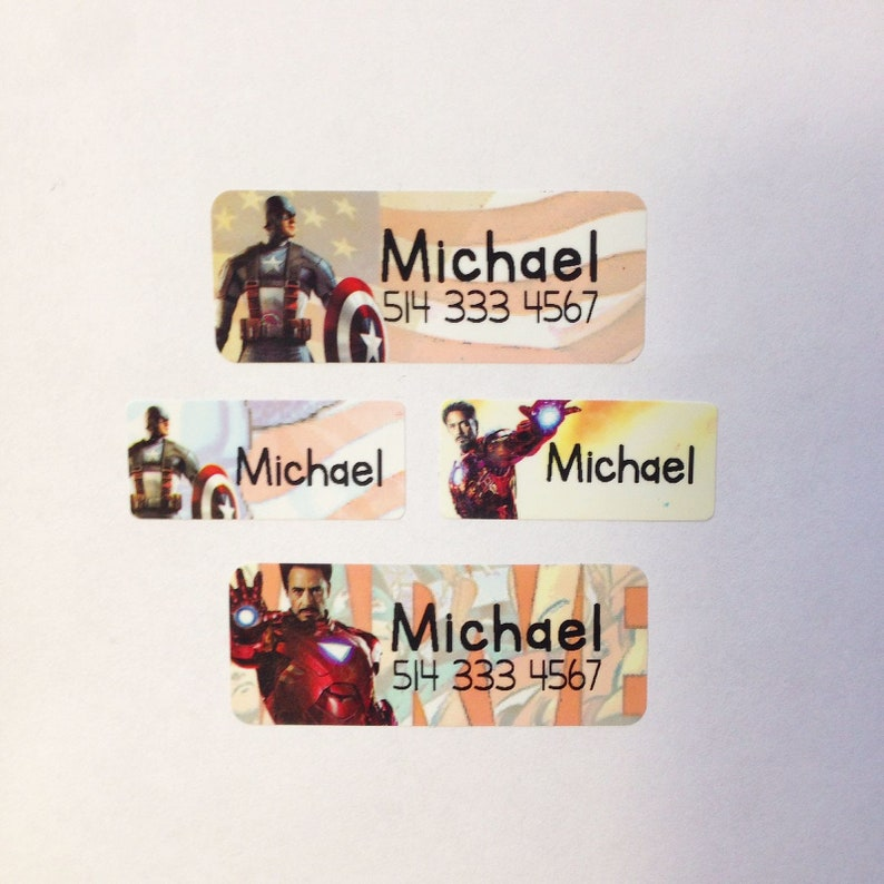AVENGERS, MARVEL, Personalized Labels, Waterproof Name Labels ,Custom Name  Labels, School labels, for school supply, daycare, party favor