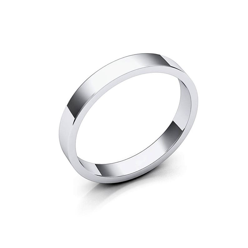 Flat Edge Classic Ring Anniversary or Wedding Band Solid 14K White Gold 3mm Flat Wedding Band