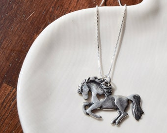 Horse Necklace, Silver Necklace, Pewter horse Pendant, Equestrian Jewelry, Gift for Her, My Horse Stole My Heart