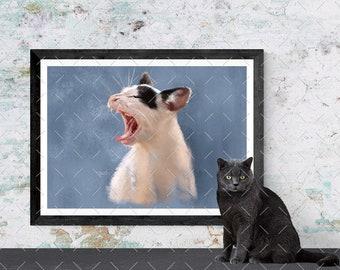 "Cat Lover Yawning Kitten Art Digital Download 10"" x 8"""