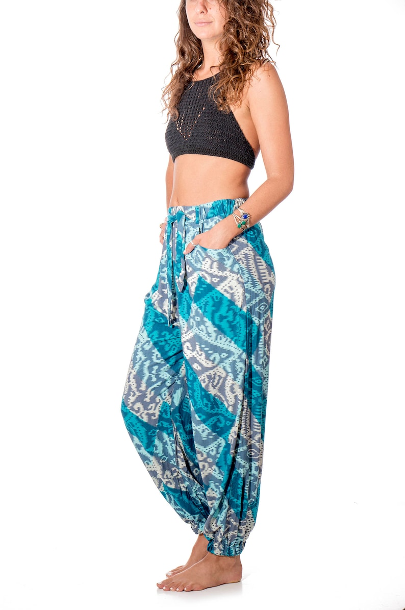 bohemian style hippie pants made from Japanese inspired fabric Women/'s comfy