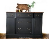 Vintage buffet, farmhouse, sideboard, hutch, cabinet, storage, TV stand, black