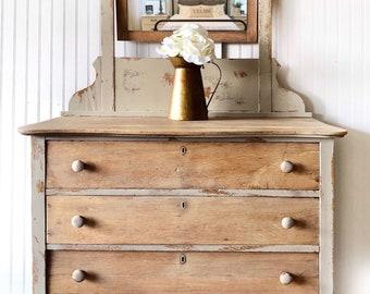 Antique Dresser With Mirror Etsy