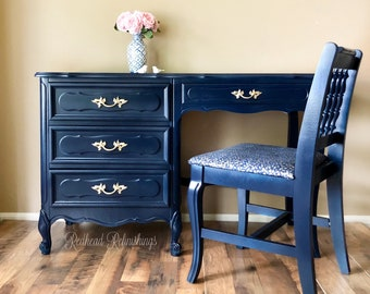 French provincial vanity, desk and chair, blue, navy, gold, dresser, Henry Link