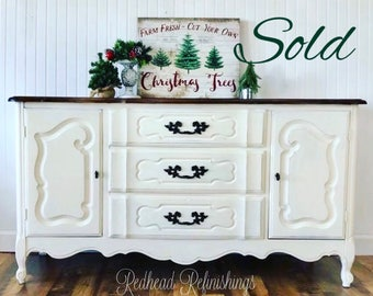 SOLD***French provincial buffet, hutch, credenza, TV stand, changing table, console, sideboard, farmhouse, rustic, cottage