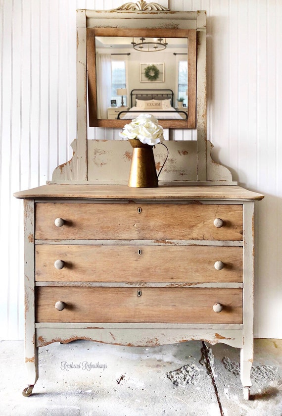 Antique dresser with mirror, vanity, farmhouse, cottage, hand painted,  changing table