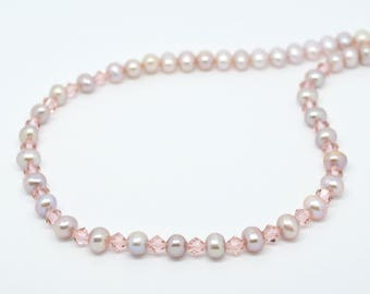 Lavender Freshwater Pearl and Rose Swarovski Crystal Necklace with a Rose Gold Plated Sterling Silver 925 Lobster clasp. 18 Inch