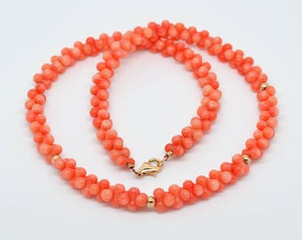 Peach Coral Beaded Necklace with Rose Gold Plated Sterling Silver 925 Lobster Clasp. 18 Inch