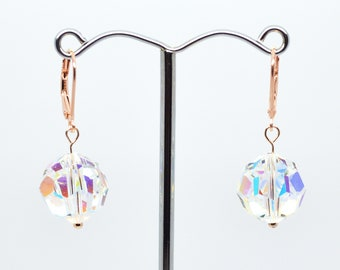 Swarovski AB Rainbow Faceted Crystal and Rose Gold Plated Sterling Silver 925 Lever Back Hook Drop Earrings