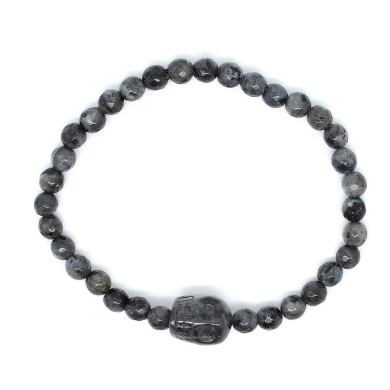 Black /& Grey Genuine Lavakite Larvikite and 3D Skull Charm Elasticated Stretchy Beaded Bracelet 7 34