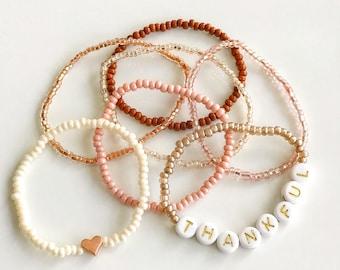 fall jewelry stacking seed bead bracelet set rustic Autumn jewellery earthy stack bracelets stretch bracelet boho bracelet pumpkin