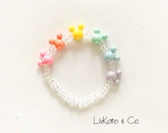 Layering Jewelry Large Pastel Mouse Bracelet Beaded Bracelets Stacking Stretch Bracelets