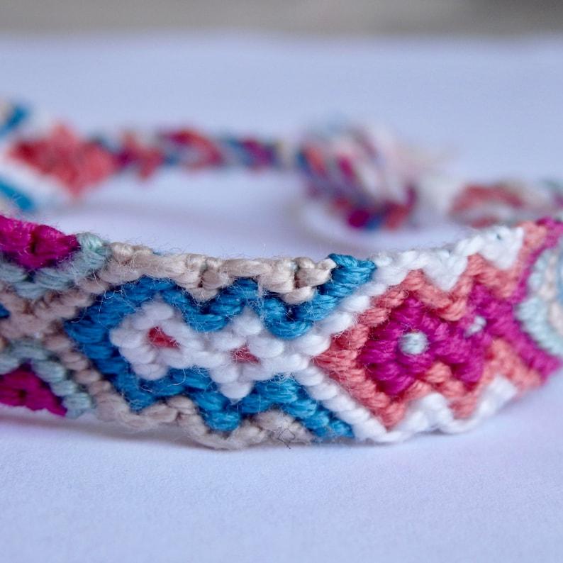 boho adjustable multicolor hippie cool friendship bracelet  aztec pattern vibrant aztec bracelet neon hand woven braceletunisex