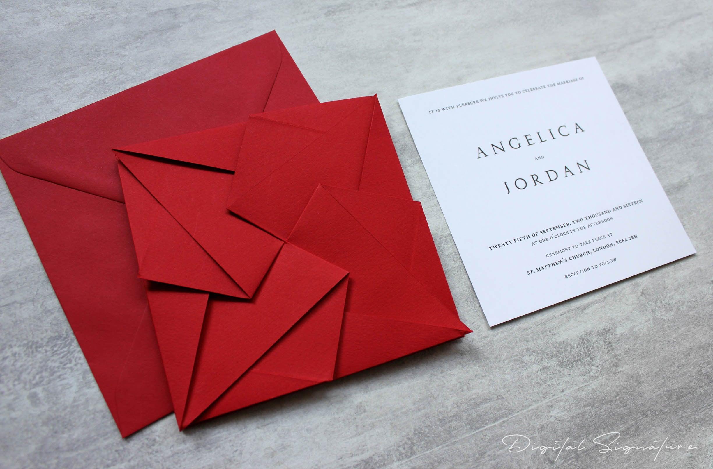 Unique Scarlet Red Origami Wedding Invitation Personalised