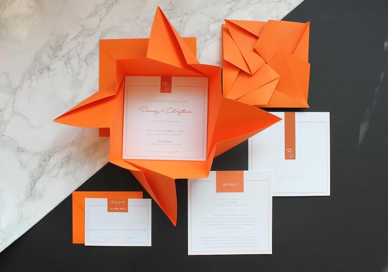 Wedding Invitation Set  Modern Origami Invitation  Unique image 0