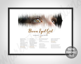 Brown Eyed Girl Man Lady Couple Song Lyric Music Gift Present Poster Print