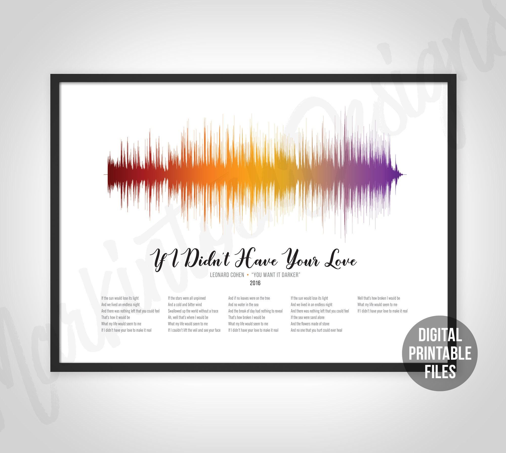 If I Didn't Have Your Love, Custom Sound Wave Lyrics art, Printable  digital, Instant download, Customizable soundwave gift