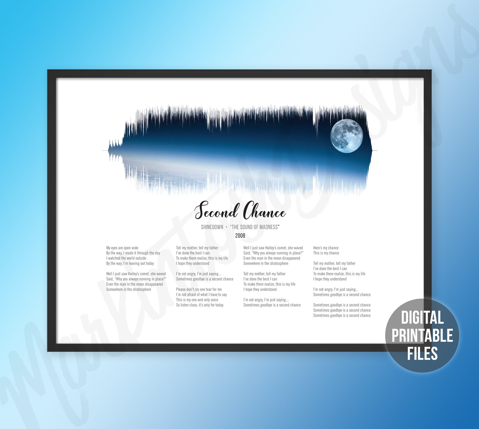 Second Chance, Sound Wave Lyrics art, Printable digital files, The, Sound  of Madness, Instant download, Customizable soundwave