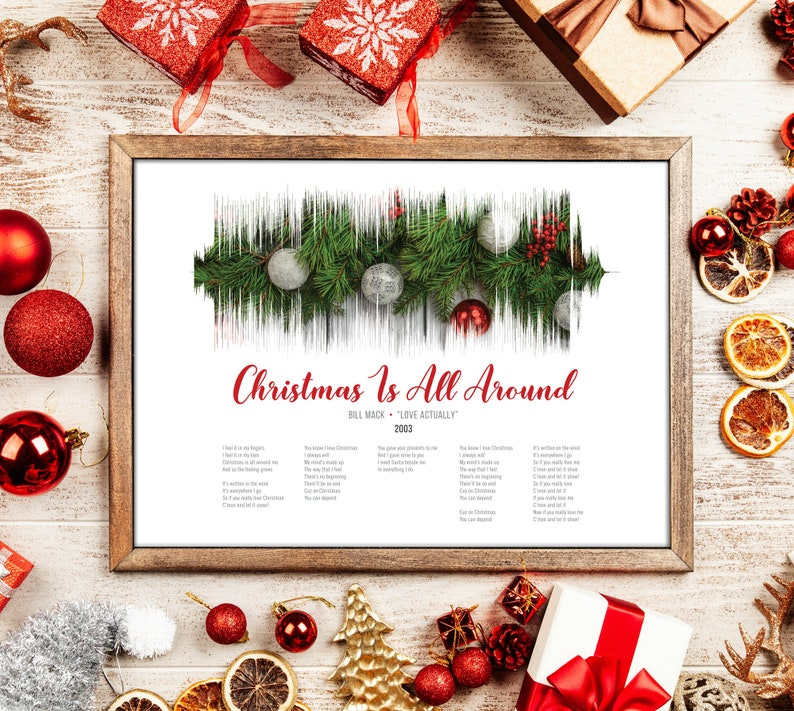 Christmas Is All Around.Christmas Is All Around Sound Wave And Lyrics Art Love Actually Printable Digital Instant Download Customizable Soundwave Gift