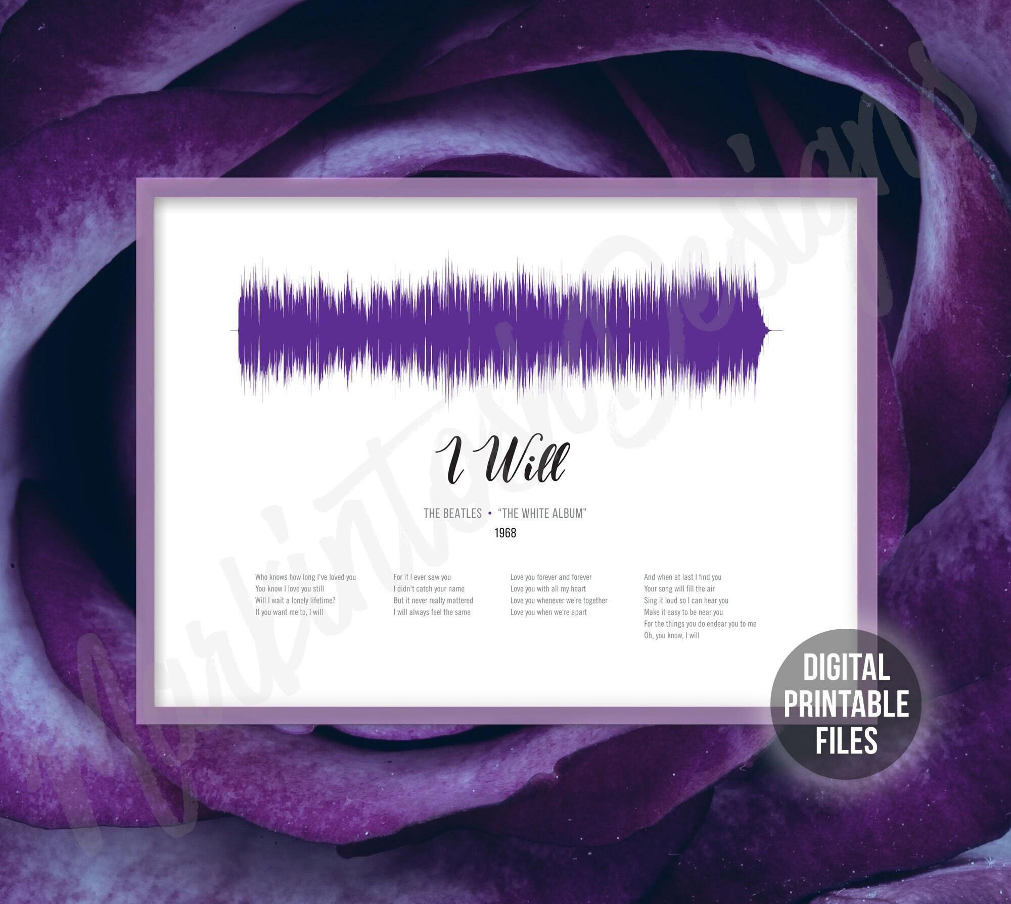I Will, White Album, Sound Wave and Lyrics art, Printable digital, Instant  download, Beatles customizable soundwave gift