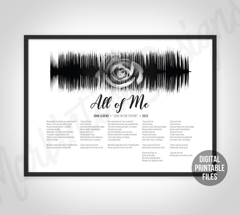 All of Me, Custom Sound Wave Lyrics art, Printable digital, Instant  download, Love in the Future, Customizable soundwave gift