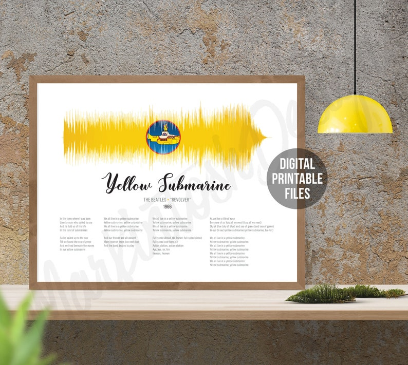 Yellow Submarine, Sound Wave and Lyrics art, Revolver, Printable digital  files, Instant download, Beatles customizable soundwave gift