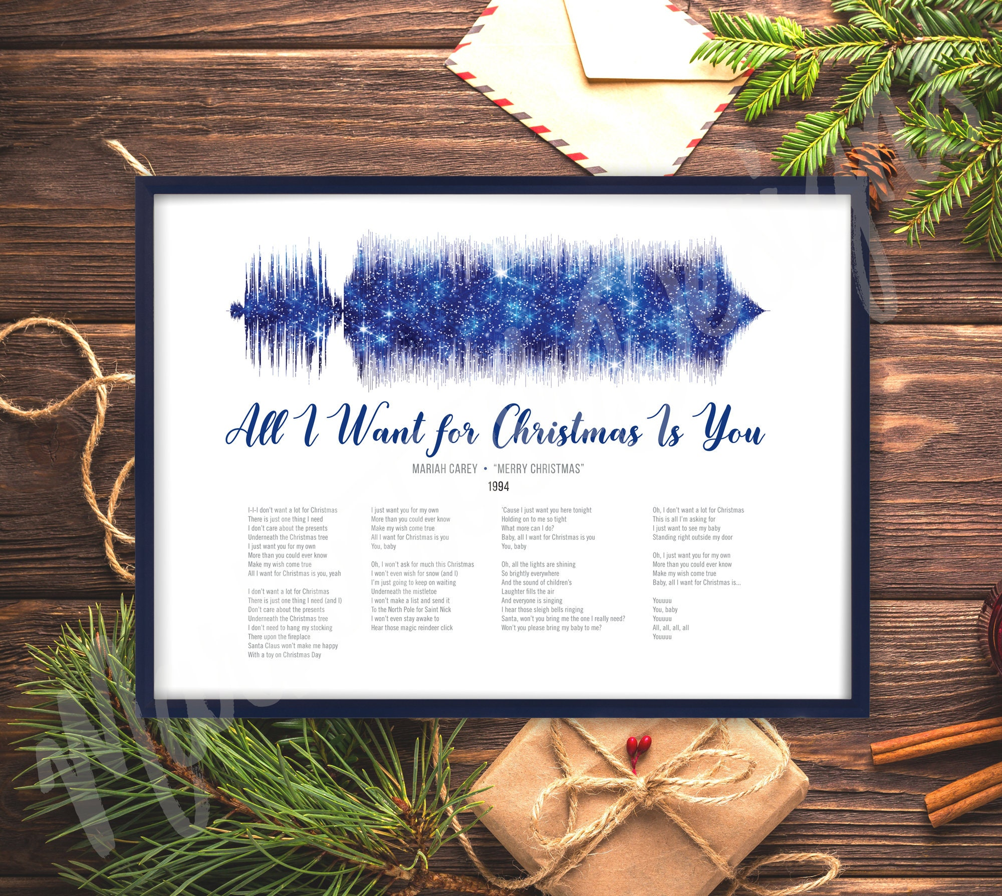 All I want for Christmas is You, Sound Wave and Lyrics art, Printable  digital, Instant download, Customizable soundwave gift