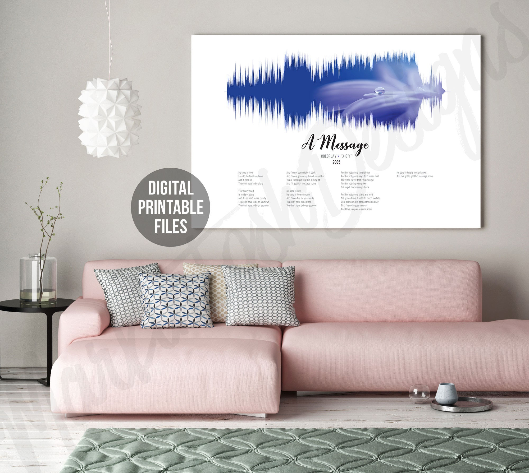 A Message, Sound Wave and Lyrics art, Printable digital files, Instant  download, Customizable soundwave gift