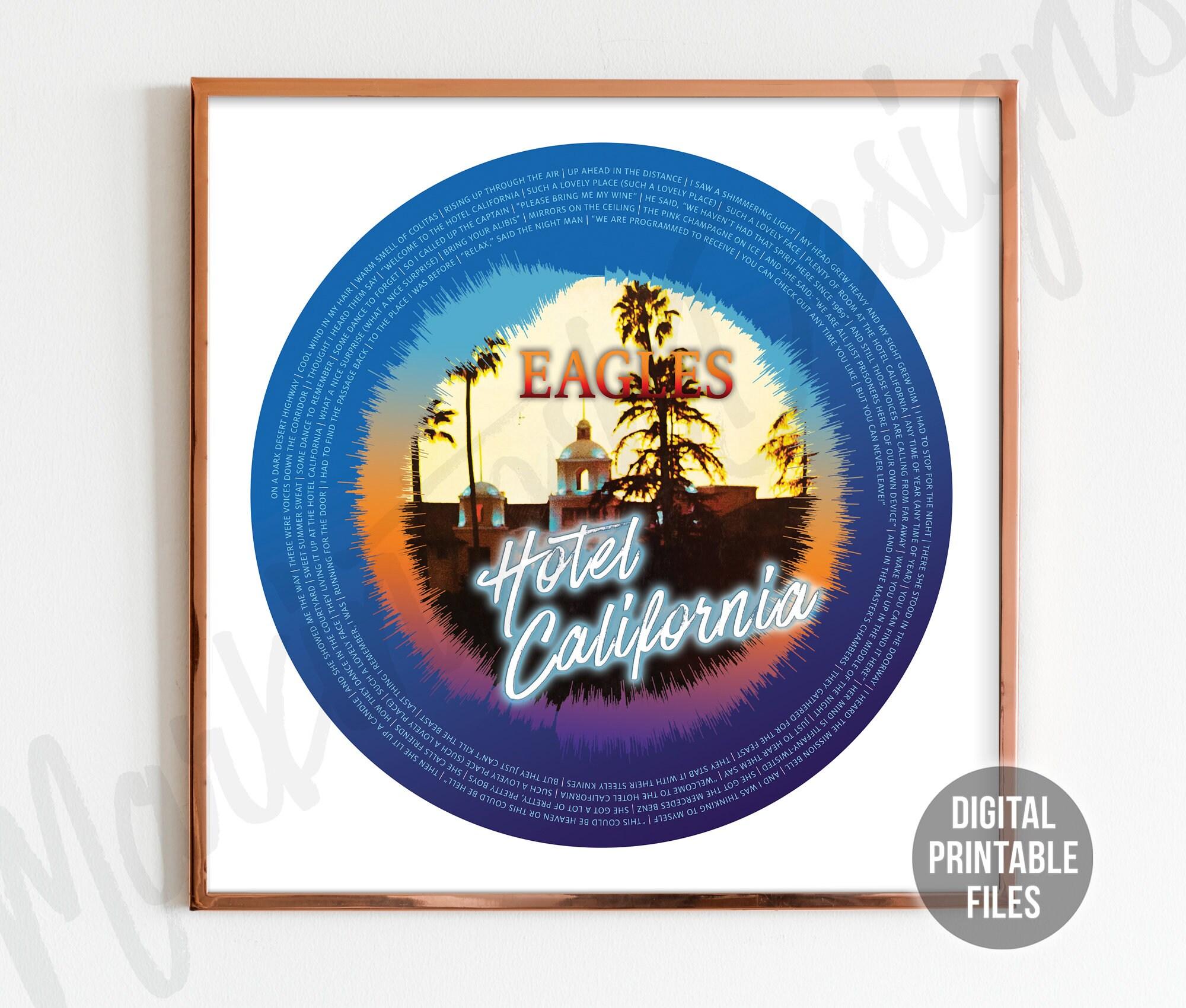 Hotel California, Soundwave and lyrics poster, Custom Printable digital  files