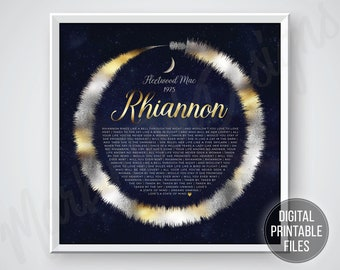 Rhiannon, Custom Radial Soundwave and Lyrics art, Printable digital poster, Instant download files, Personalized sound wave print gift