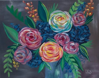 """Colorful Bouquet, Original, 8"""" x 10"""" Acrylic Painting on Canvas"""