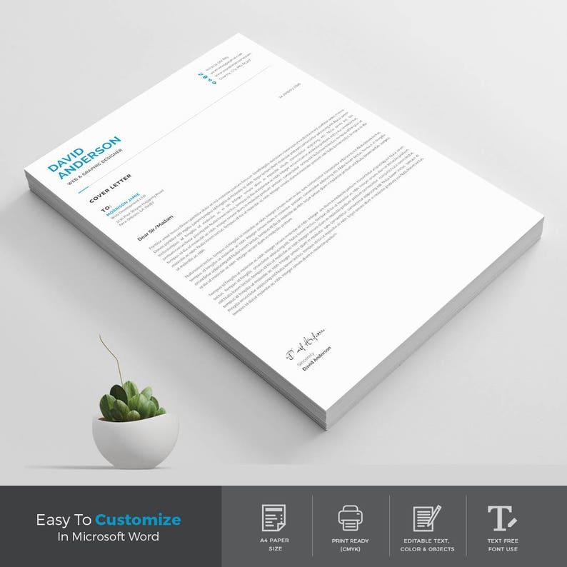 Resume Template   Modern & Professional Resume Template for Word   CV  Resume + Cover Letter
