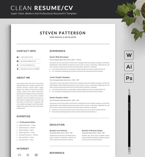Modern And Creative Resume Template Modern Professional Resume Template For Word Cv Resume Cover Letter