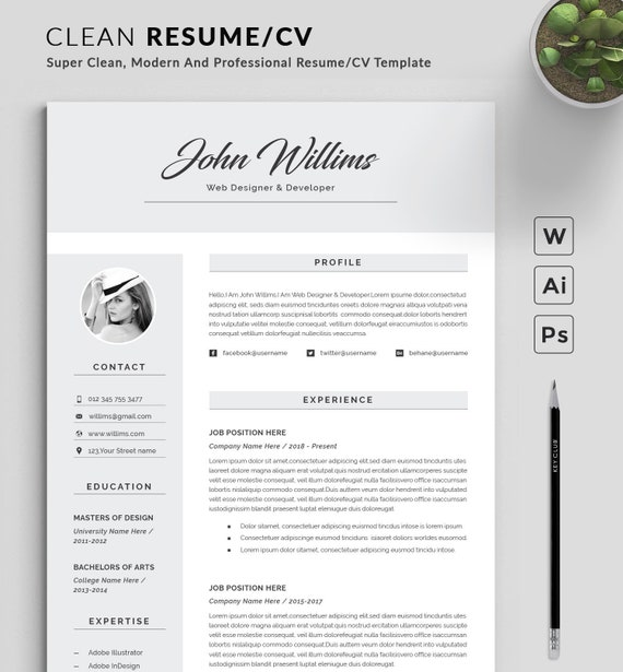 Resume Template Modern Professional Resume Template For Word Cv Resume Cover Letter