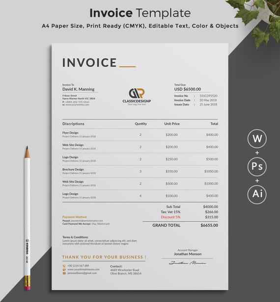 Printable Invoice Estimate Template Editable Template Etsy