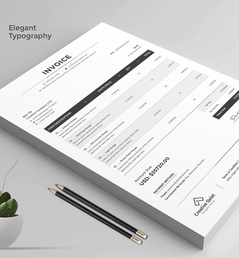 Printable Invoice Estimate template, Editable Template, Invoice Template,  Billing Template, Word Invoice, Business Forms, Printable Estimate