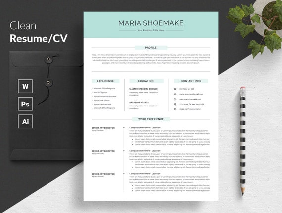Professional Resume Template Resume Template Cv Template Resume Template Word Creative Modern Resume Template