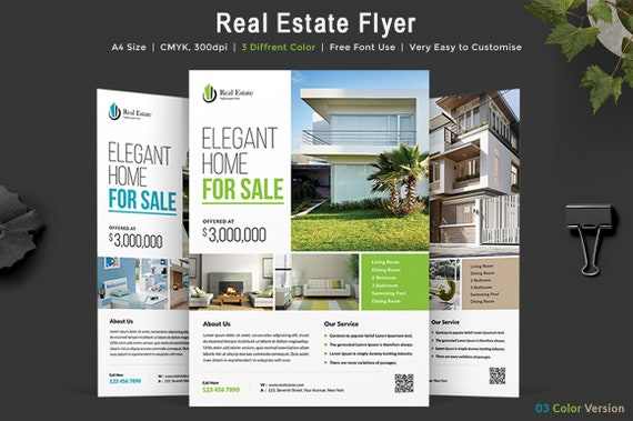 Real Estate Flyer Template Editable PSD 3 Color Variations