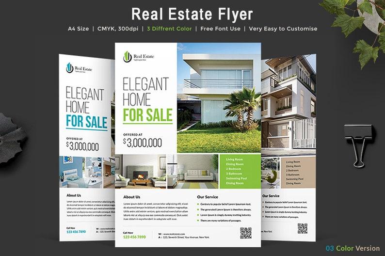 Immobilien Flyer Vorlage Editierbare Psd 3 Farbvariationen Etsy