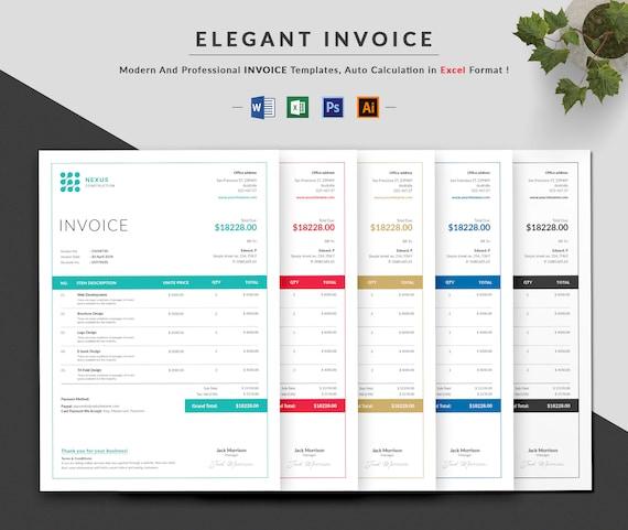 Invoice Template Invoice Design Ms Excel Auto Calculation Etsy