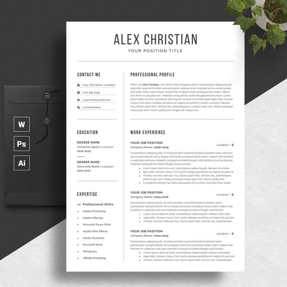 Modern Resume Template Professional Resume Template Resume Cover Letter Cv Resume Word Resume Format Nurse Resume