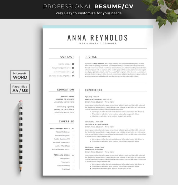 Professional Resume Template Resume Template Word Cv Resume Cover Letter 4 Page Resume Instant Download Resume