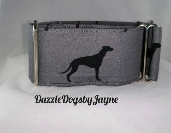 Dark Green Check Martingale Dog Training Collar Custom Made Wool Blend 1.5 or 2 inch Wide ID House Dog Collar Greyhound Whippet Lead