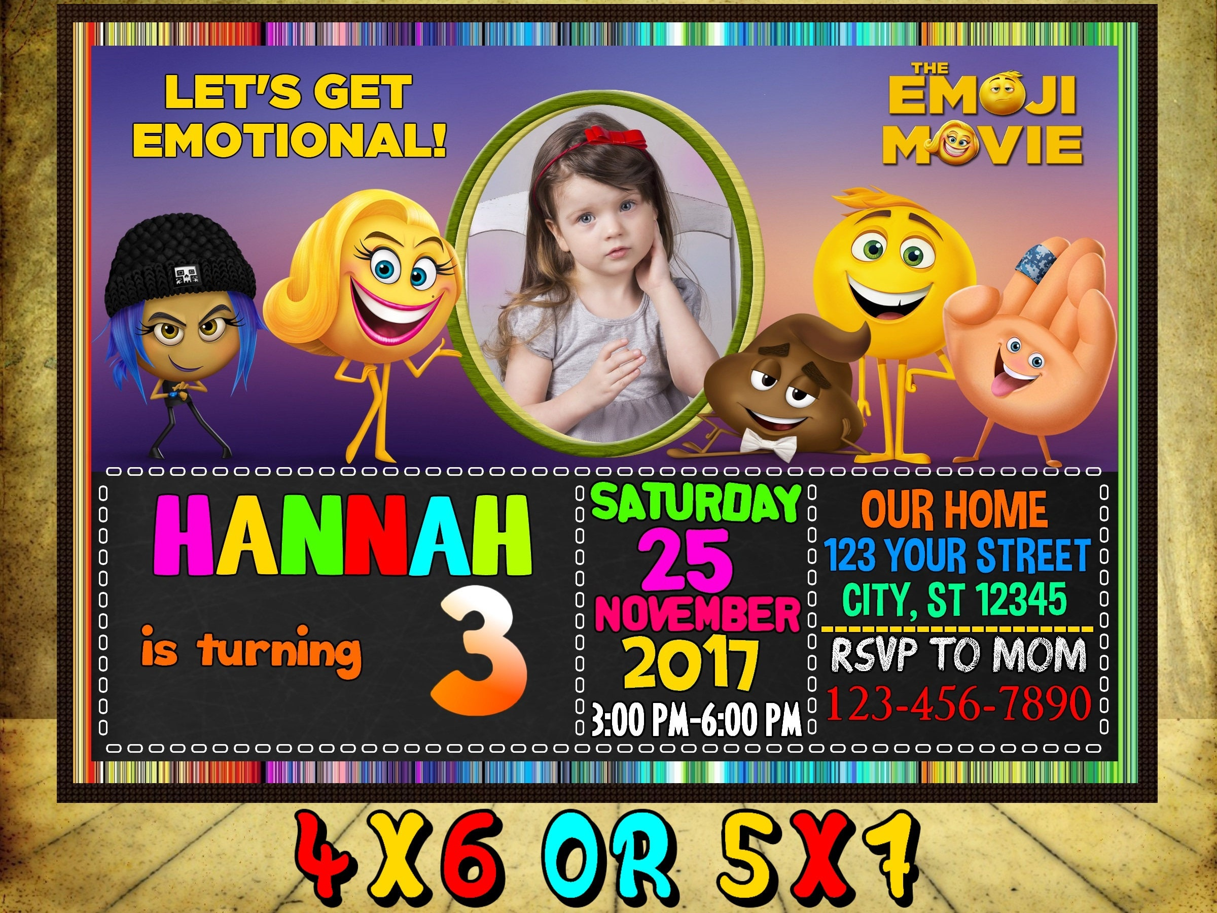 Emoji Movie Invitation Birthday Invitations Party Invite The 2017