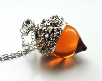 Vintage Amber Acorn Glass Necklace Pendant Silver Oak Autumn Nature Seasonal