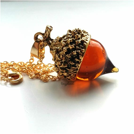Vintage Style Amber Glass Oak Acorn Pendant Necklace Silver Plated Gift Bag