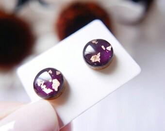 9d435a3c3565 Darkest Plum Rose Gold Earrings 10mm Glossy Stud Earrings