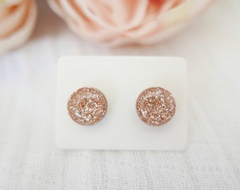 40ff67630 Rose Gold Glitter Earrings, Gold Glitter Earrings, Rose Gold Earrings,  Glitter Earrings, Small Stud Earrings