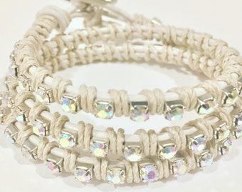 White leather and rhinestone 3 wrap bracelet