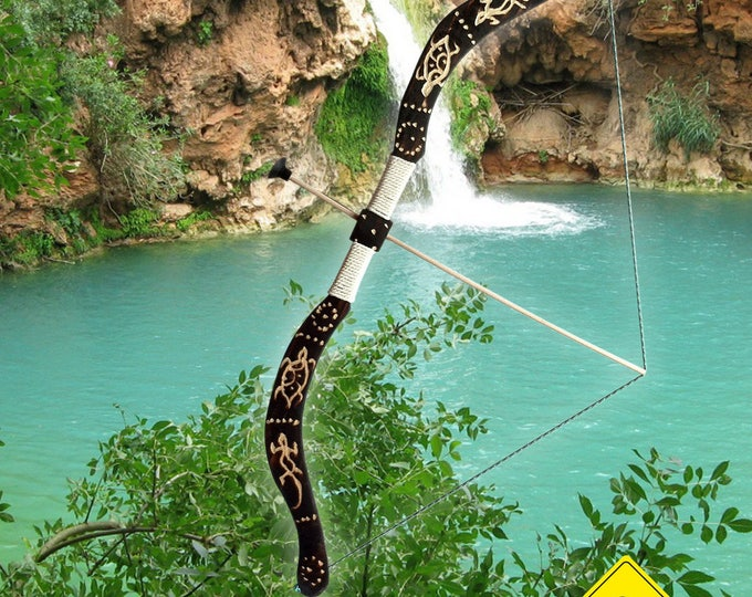 Featured listing image: children's bow (handmade) from 5 years old, (size 75 cm, sold with 5 arrows) and 1 paper target